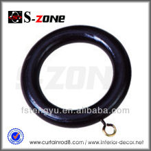 High Qulaity Black Wood Curtain Rod Rings Painted Curtain Rings Wooden Wood Curtain Rod Accessories